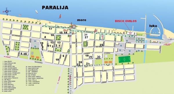 paralia mapa Hotel Paralia Inn, Paralia   Amos travel paralia mapa